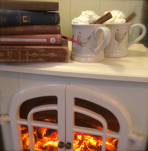 Buttercrambe shepherds hut xmas Books & Hot Choc
